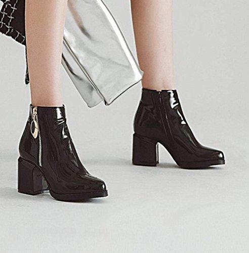 Boots Femme Bloc Hiver Haut Chunky Zip Courtes Bottes Talon Plateforme Bottine Ferme Vernis YE 4qxfSA4