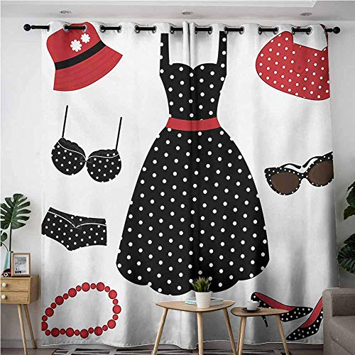 (VIVIDX Curtains for Bedroom,1950s Fifties Style Collection Female Fashion Dress Bag Hat Heels Shoes Sunglasses,Energy Efficient, Room Darkening,W84x84L,Red Black White)
