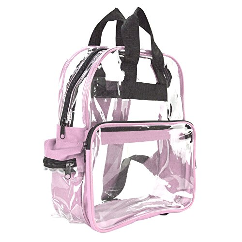 Heavy Clear Vinyl Backpack (DALIX Small Clear Backpack Bag in Pink)