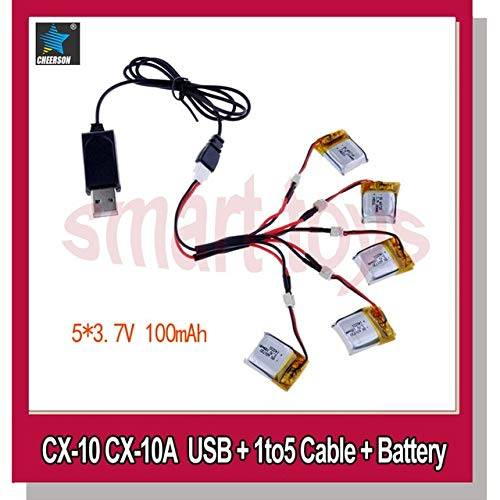 Part & Accessories Cheerson CX-10 CX10 quadcopter USB Charger 1to5 cable for cx 10 helicopter spare parts - (Color: usb 1to5 batteryX5) (Cx Helicopter)