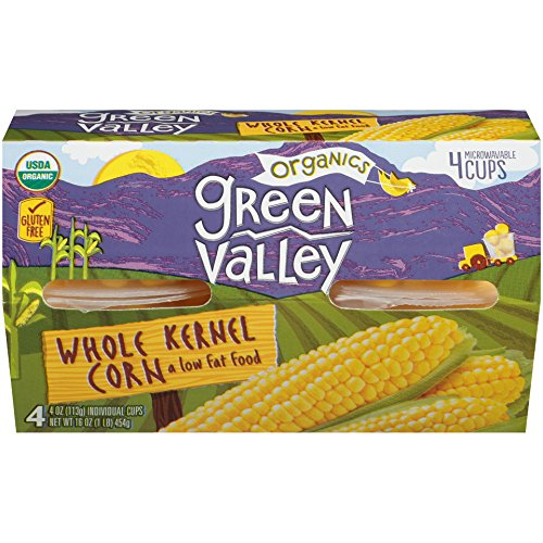 Green Valley Organics Whole Kernel Corn, Single Serve 4 Ounce Cups, (Pack of 6) by Green Valley Organics