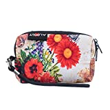 AUPET Red Flowers Design Digital Camera Case Bag Pouch Coin Purse with Strap For Sony Samsung Nikon Canon Kodak