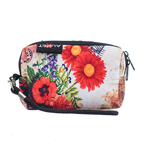 AUPET Red Flowers Design Digital Camera Case Bag Pouch Coin Purse with Strap For Sony Samsung Nikon Canon (Kodak Strap)