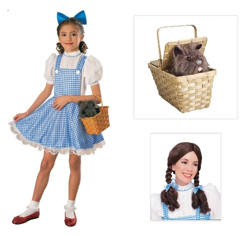 The Wizard of Oz Dorothy Deluxe Child Costume with Wig and Toto in Basket - Medium -