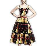 Venetia Morton Fashion Sping Summer Designer Runway Dress Women's Spaghetti Strap Vintage Gold Rice field Printed Mid Calf Dress Multi L