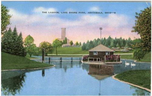 Photo Reprint The Lagoon, Lake Shore Park, Ashtabula, Ohio 1941-1950