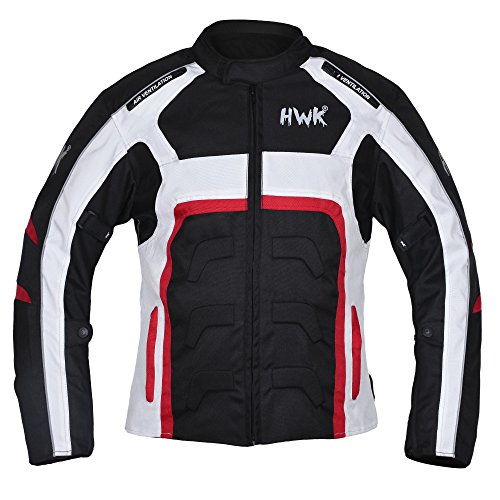 Textile Motorcycle Jacket Motorbike Jacket Breathable CE ARMORED WATERPROOF (Large, Red) by HHR