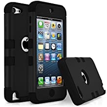 iPod Touch 5 Case, MagicMobile [Armor Shell Series] Double Layer Cover [Hard Shield] + [Flexible Silicone] Hybrid Case for Apple iPod 5th Generation [Impact Shock Resistant] / [ Black - Black ]