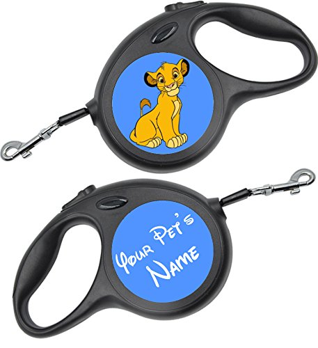 uDesignUSA Disney Themed Retractable Dog Leash Personalized w/Your Pet's Name (Simba, Small 16ft) ()