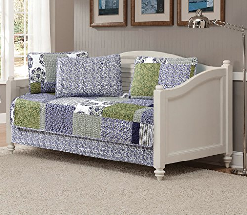 Fancy Linen 5pc Daybed Quilt Bedspread Set Bed Cover Squares Floral Stripped Zig Zag Green Purple Blue White New