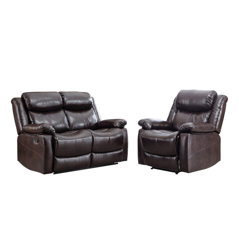 Romatpretty  Sofa Set Sectional Sofa Couch andPU Leather Loveseat Sofa Contemporary Modern Sofa for Home Furniture 1seats + 2 Seat Suitable for Living Room Sofa Reclining Sofa Chair by Romatpretty