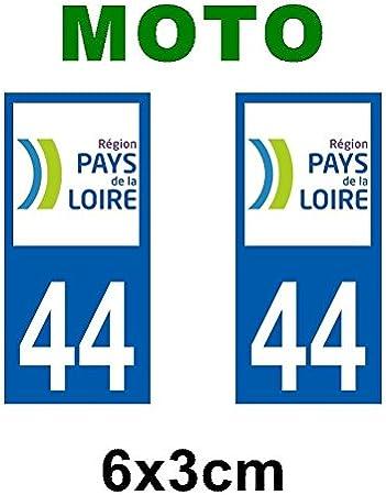 Pays de la Loire Autocollant plaque immatriculation pour Auto Pays de la loire d/épartement 44 Loire Atlantique