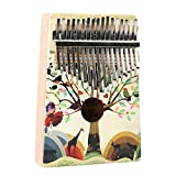 Colorful Printing Mahogany Wood Thumb Piano 17 Keys Kalimba Standard C Tune Finger Piano Metal Tines With Tuning Hammer Pickup Carry Bag Kids Musical Instrument Gifts for Music Lover Beginners