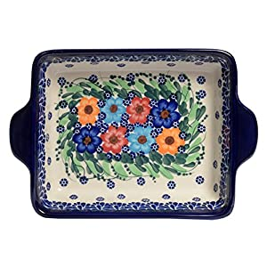 Traditional Polish Pottery, Lasagna Rectangular Casserole Baking Dish with Handles 22cm, Boleslawiec Style Pattern, O.401.Garland