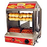 Paragon 8020 Hot Dog Hut Steamer Merchandiser for Professional Concessionaires Requiring Commercial Quality & Construction (Color: Stainless Steel and Red, Tamaño: 1-(Pack))