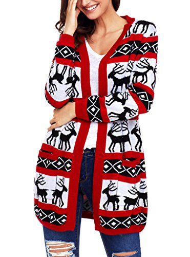 Christmas Reindeer Geometric Open Front Long Sleeve Cardigan