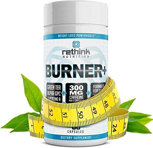 Rethink Nutrition Burner+ - Fat Burner, Clean Energy, Tunnel Vision Focus, Caffeine, Alpha-GPC, Green Tea Extract, Huperzine A, for Men and Women, Weight Loss Supplement, 60 Caps 4