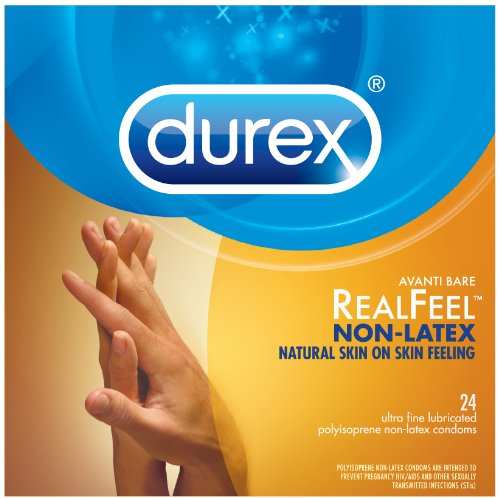Thin Lubricated Latex Condoms (Durex Condom Real Feel Non Latex Condoms, 24 Count - Ultra Fine & Lubricated for skin on skin feeling)