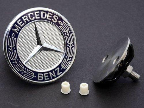 (Mercedes Hood emblem (Star DELETE) flat badge KIT German made w/ laurel)
