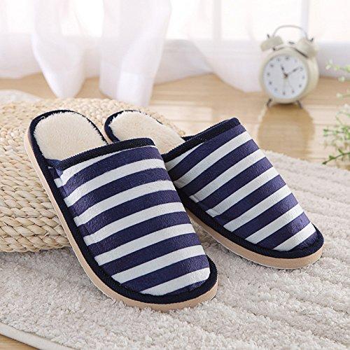 Fankou Autunno e Inverno indoor pantofole di cotone uomini e donne strisce di moda giovane pantofole casa calda cotone pantofole coppie ,4041, blu scuro