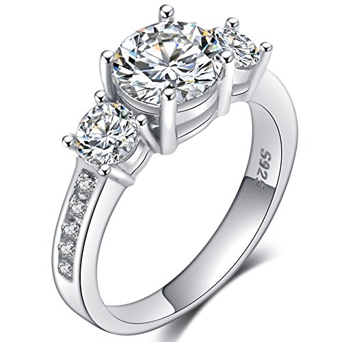 Stone Cluster Ring (WFF 925 Sterling Silver Wedding Engagement Eternity Cluster Cubic Zircon Ring (6))