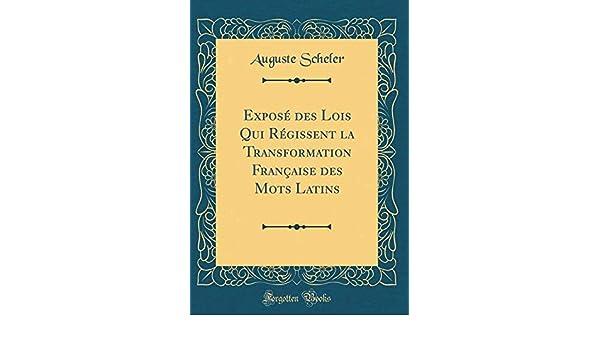Exposé Des Lois Qui Régissent La Transformation Française Des Mots Latins (Classic Reprint) (French Edition): Auguste Scheler: 9781391533339: Amazon.com: ...