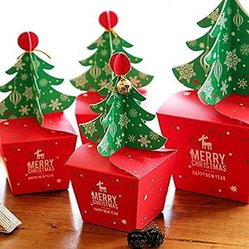 SHthree 20 Unids/Set Kawaii Feliz Navidad Caja de Dulces Bolso 3D ...