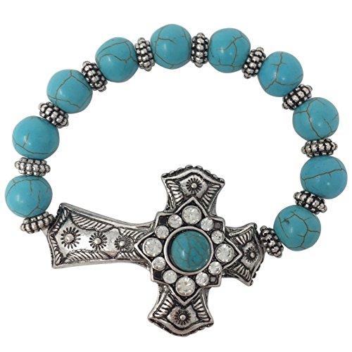Gypsy Jewels Imitation Turquoise Beaded Sideways Cross Stretch Bracelet - Assorted Styles (Center Square)