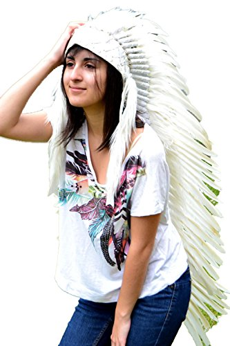 [Extra Large Indian White Feather Headdress Headdress (43 inch long )] (White And Black Swan Halloween Costumes)
