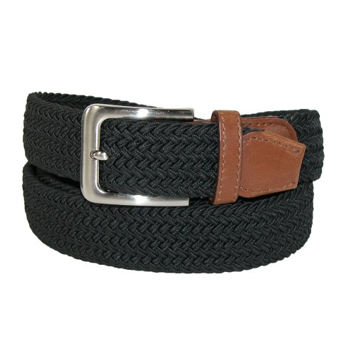 CTM® Mens Big & Tall Elastic Braided Belt with Silver Buckle and Tan Tabs, 2XL, Black