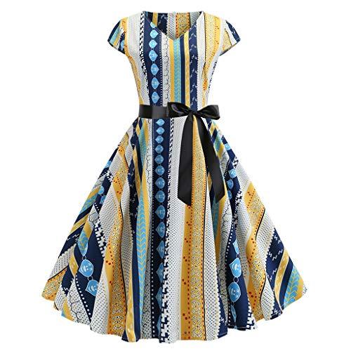 Dress Women's Vintage 1950s Retro Short Sleeve V-Neck Printing Party Prom Swing Dress Yellow]()