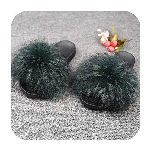 Women's Fur Slipper Real Raccoon Fur Fashion Style Furry Slides Soft Warm Big Fluffy Fur Shoes,Raccoon Dark Green,37