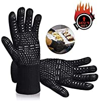Tuffinno BBQ Grill Gloves Heat Resistant Anti Hot Kitchen Oven Pot Holder Silicone Non-Slip Glove with Fingers for...