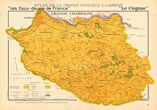 COGNAC BRANDY MAP Grand Champagne. Charente. Eaux-de-vie. LARMAT - 1947 - old map - antique map - vintage map - printed maps of France