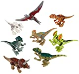 Pixnor Jurassic World Toys Jurassic Park Dinosaur Building Blocks Abs 7CM Pack of 8