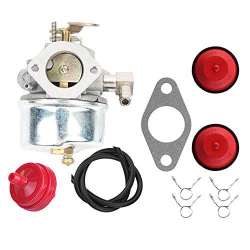 Hilom Carburetor Carb For Tecumseh 640298 OHSK70 OH195SA 5.5hp & 7hp Snowblower Models With Gasket & Primer Bulb Pump & Fuel Filter & Fuel Line Clamp