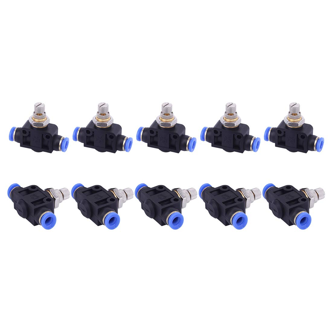 "SNS SPA1/4 Union Straight Speed Controller - 1/4"" Tube OD Air Flow Control Valve with Push-to-Connect Fitting(10 PCS)"