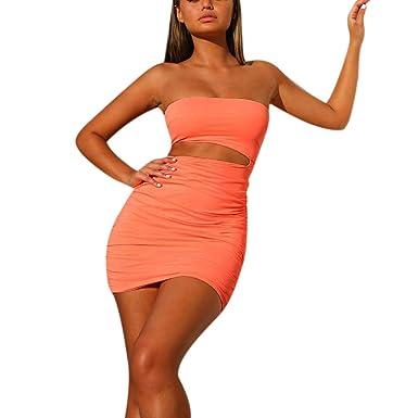 NDGDA - Conjunto de vestido de tubo para mujer, con falda corta y ...