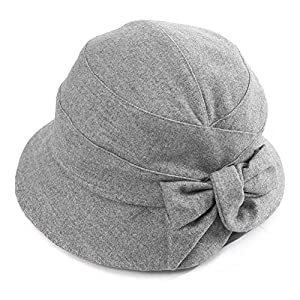 Womens Cloche Hats Winter Hat Ladies 1920s Vintage Derby Church Bowler Bucket Hat Fall Packable Grey SIGGI