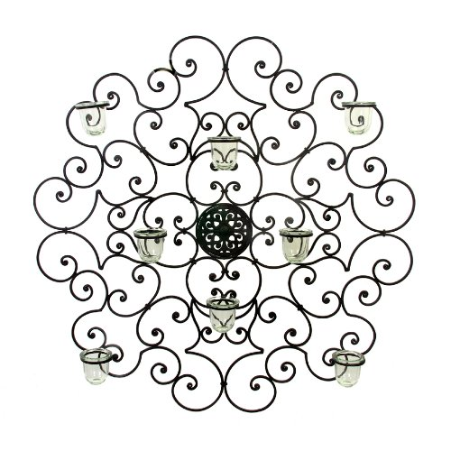 """Cheap-Chic Decor Giovani Tuscan Wrought Iron 32"""" Round Wall Sconce Wall Grille Plaque"""