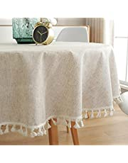 "Lahome Solid Color Tassel Tablecloth - Cotton Linen Round Table Cover Kitchen Dining Room Restaurant Party Decoration (Round - 60"", Linen)"