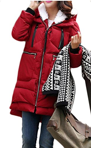 Warm Parka Winter Jackets Red Down amp;S Casual Coats Outwear Thick Wine M amp;W Hooded Womens Jacket POIPtq