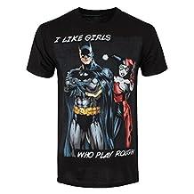 DC Comics Men's Batman I Like Girls Who Play Rough T-shirt Black