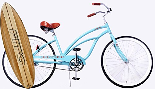 Anti Rust & Light Weight Aluminum Alloy Frame, Fito Marina Single 1-speed Women – Sky Blue, 26″ Wheel Beach Cruiser Bike