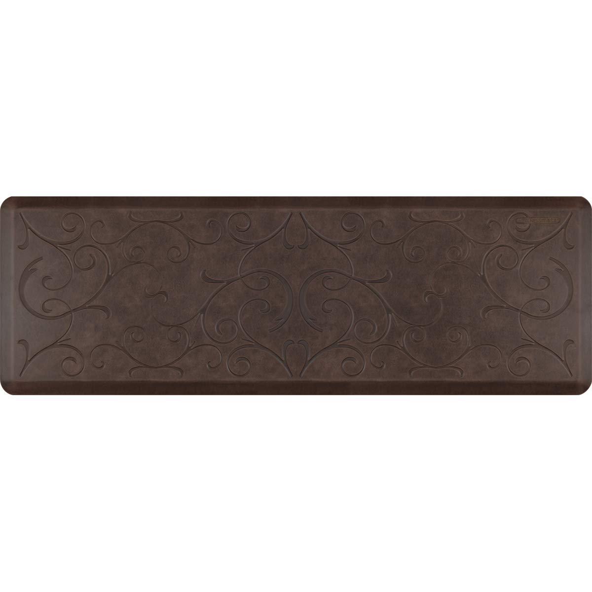WellnessMats Anti-Fatigue Bella Motif Mat, 72 Inch by 24 Inch, Antique Dark