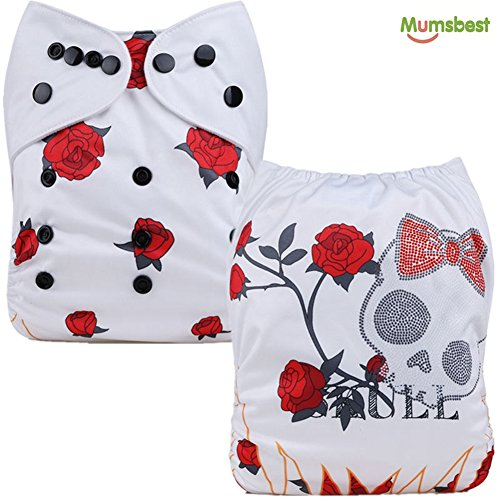 Halloween Diaper (Mumsbest Baby Cloth Diapers for Halloween Skull Washable Reusable Pocket Nappy + 2 Inserts (White Rose Skull))