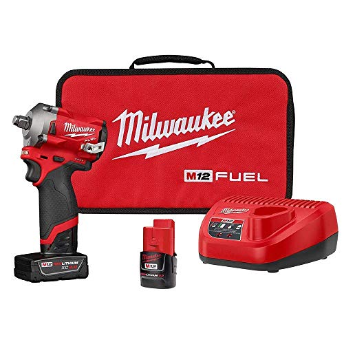Milwaukee 2555-22 M12 FUEL 12-Volt Lithium-Ion Brushless Cordless Stubby 1/2 in. Impact Wrench Kit with One 4.0 and One 2.0Ah Batteries ()
