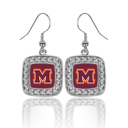 Maryville Crystal Studded Square Pendant Silver Dangle Earrings 'Primary Logo'