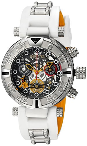 Invicta Women's 'Disney Limited Edition' Quartz Stainless Steel and Silicone Casual Watch, Color:White (Model: 24519)
