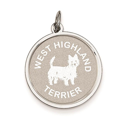 925 Sterling Silver Laser Etched Faceted West Highland Terrier Dog Disc Charm Pendant
